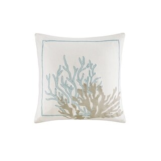 Harbor House Cannon Beach White Embroidered Cotton Square Decorative Pillow