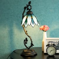 "Tiffany Style Arched Table Lamp Blue Floral Leaf Lotus Shape Stained Glass Desk Lamp Home Decor Lighting with 7"" Lampshade"
