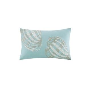 Harbor House Cannon Beach Aqua Embroidered Cotton Oblong Decorative Pillow