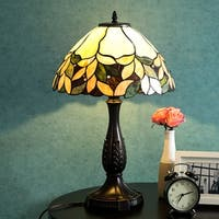 """Lamp 14"""" Lampshade Table Lamp Victorian Stained Glass Desk Lamp Floral Home Decor Lighting"""