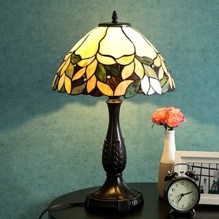 "Tiffany Style 14"" Lampshade Table Lamp Victorian Stained Glass Desk Lamp Floral Home Decor Lighting"