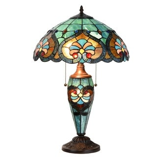 "Tiffany Style Lamp 16"" Lampshade Table Lamp Victorian Jeweled Double Lit Desk Lamp Stained Glass Home Decor Lighting"