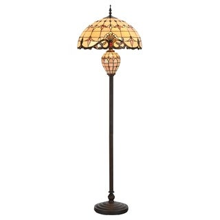 Tiffany Style Lamp 20u0026quot; Lampshade Floor Lamp Victorian Double Lit Lamp  Home Decor Stained Glass