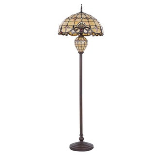 "Tiffany Style Lamp 20"" Lampshade Floor Lamp Victorian Double Lit Lamp Home Decor Stained Glass Lighting"