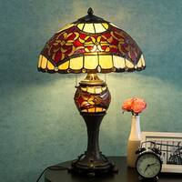 """Tiffany Style Lamp 16"""" Lampshade Table Lamp Baroque Desk Lamp Floral Stained Glass Double Lit Home Decor Lighting"""