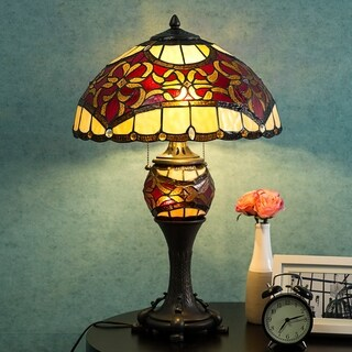 "Tiffany Style Lamp 16"" Lampshade Table Lamp Baroque Desk Lamp Floral Stained Glass Double Lit Home Decor Lighting"
