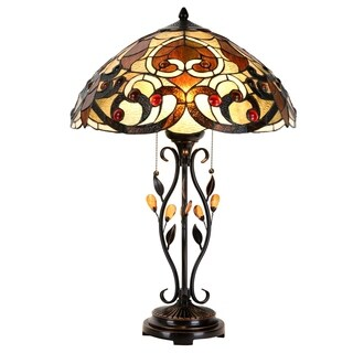 "Lamp 18.5"" Lampshade Swirling Shells Table Lamp Baroque Stained Glass Desk Lamp Home Decor Lighting"