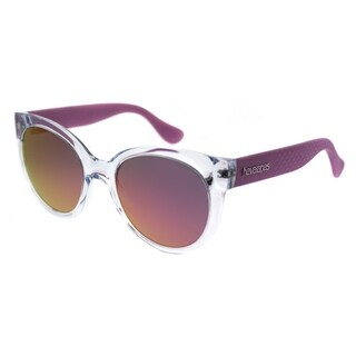 Havaianas Round Noronha/M 22S VQ Unisex Crystal Lilac Frame Pink Mirror Lens Sunglasses