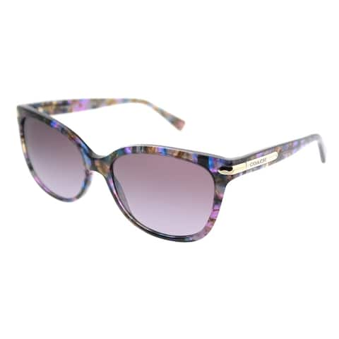 Coach Cat-Eye HC 8132 L19 52888H Women Confetti Purple Frame Purple Gradient Lens Sunglasses