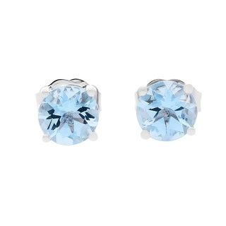 10K White Gold Aquamarine Earring by Anika And August