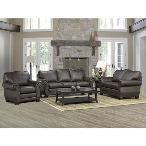 Madison Top-grain Leather Sofa, Loveseat, and Chair Set