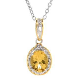Michael Valitutti Palladium Silver Oval Gold Beryl & White Topaz Pendant - Yellow