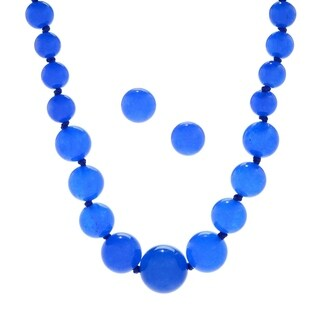 Michael Valitutti Palladium Silver Dark Blue Quartz Graduated Bead Necklace & Stud Earrings Set
