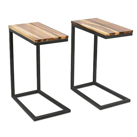 BirdRock Home Acacia Wood TV Tray Side Table Set of 2 Natural Wood Bed Sofa Snack End Table