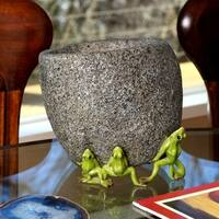 7 Inch  Frog Friends Lifting Stone Pot