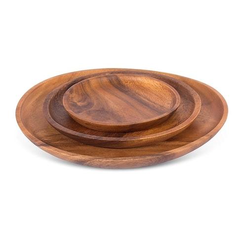 BirdRock Home Acacia Round Platters Set of 3 Acacia Wood Plates