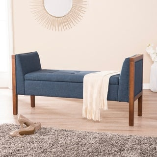 Harper Blvd Lanford Blue with Espresso Upholstered Entryway Bench