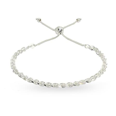 Mondevio Polished Spiga Chain Adjustable Sterling Silver Pull-String Bracelet