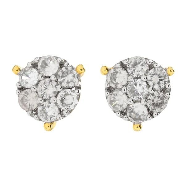 Michael Valitutti Palladium Silver Round White Zircon Cer Stud Earrings