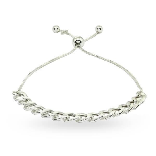 bcf1b3e8d755c6 Mondevio Thin Cuban Link Chain Adjustable Sterling Silver Pull-String  Bracelet