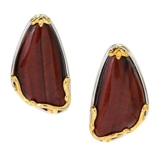 Michael Valitutti Palladium Silver Red Tiger's Eye Earrings with Omega Backs - Brown
