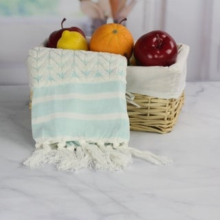 100 Percent Cotton Kitchen Towel, Sculpted Chevron Pattern, Peach and Oak by 1888 Mills - Single