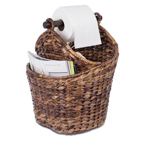BirdRock Home Seagrass Magazine and Bathroom Basket Hand Woven Toilet Paper Holder with Pocket Espresso Dispenser