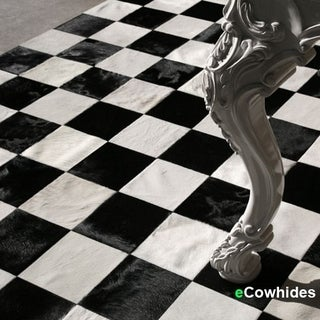 Checkers Cowhide Patchwork Rug