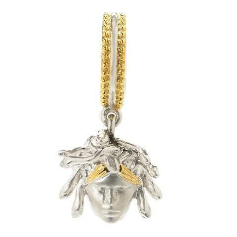 "Michael Valitutti Palladium Silver ""Greek Mythology"" Two-tone Medusa Drop Charm"
