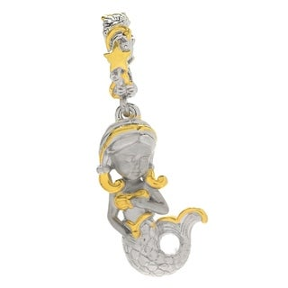 Michael Valitutti Palladium Silver Polished & Textured Sculpted Mermaid Drop Charm