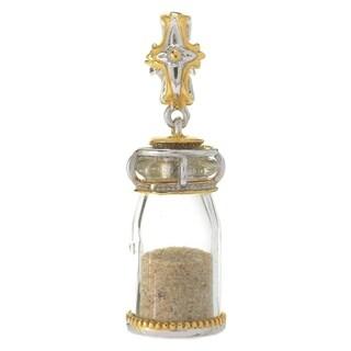 Michael Valitutti Palladium Silver Cross Glass Bottle Holy Land Sand Drop Charm