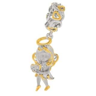 Michael Valitutti Palladium Silver Polished & Textured Sculpted Angle & Heart Drop Charm