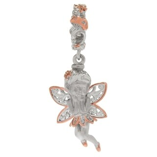 Michael Valitutti Palladium Silver Polished & Textured Sculpted Fairy Drop Charm