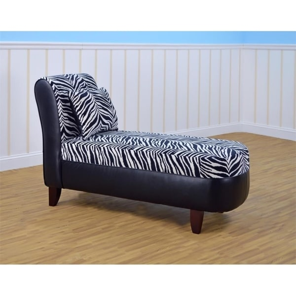 Tween Chaise With Pillow   Zebra With Bravo Black