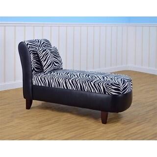 Kangaroo Trading Co. Tween Chaise with pillow - Zebra with Bravo Black