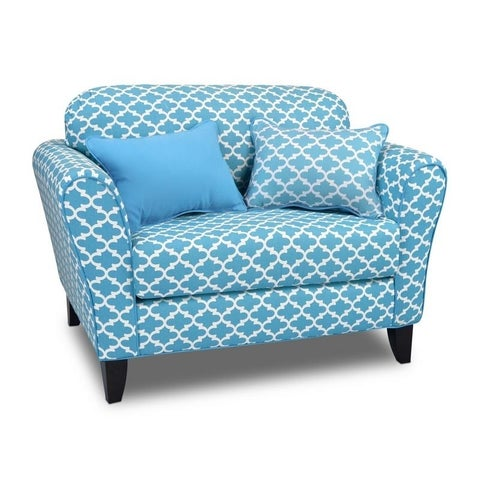 Kangaroo Trading Co. Tween Loveseat with reversible backrest and two pillows - Fulton Coastal Blue with Sky Blue