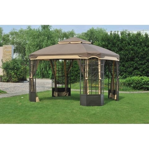 Sunjoy Replacement Mosquito Netting for 10 X 12 Ft Bay Window Gazebo Set, Dark Brown