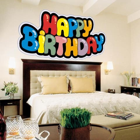 """Happy Birthday Full Color Wall Decal Sticker AN-469 FRST Size40""""x63"""""""