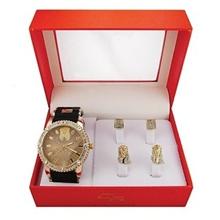 Hip Hop Stone Rubber Black & Gold Jesus Christ Watch with 2 Sets of Stud Earings
