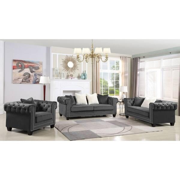 Shop Best Master Furniture Velvet Upholstered 2 Pcs Living ...