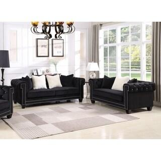 Best Master Furniture Velvet Upholstered 2 Pcs Living Room Set