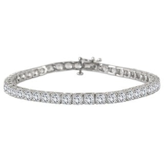 AGS Certified 9 Carat TW Classic Diamond Tennis Bracelet in 14K White Gold