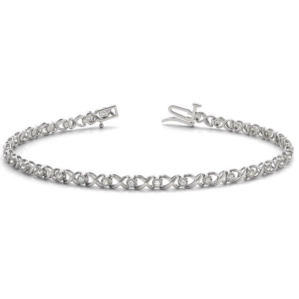 1 4 Carat Tw Xo Diamond Bracelet In 10k White Gold