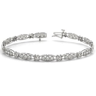 1/3 Carat TW Diamond Three Stone Bracelet in 10K White Gold