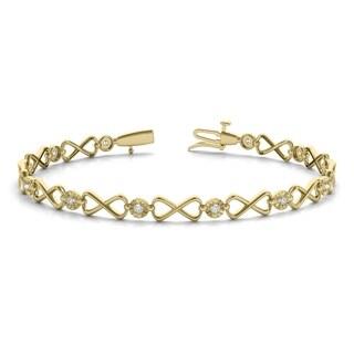 1/4 Carat TW Diamond Infinity Bracelet in 10K Yellow Gold