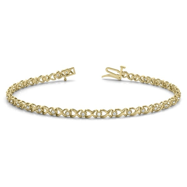 7af12ec310ff4 1/4 Carat TW Hugs and Kisses Diamond Bracelet in 10K Yellow Gold