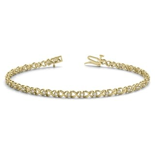 1/4 Carat TW Hugs and Kisses Diamond Bracelet in 10K Yellow Gold