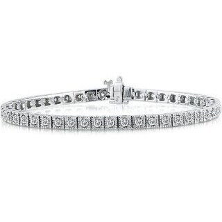 2 Carat TW Antique Square Box Bracelet in 14K White Gold