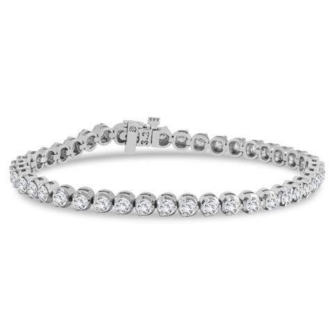 AGS Certified 5 Carat TW Three Prong Diamond Tennis Bracelet in 14K White Gold (J-K Color, I2-I3 Clarity)