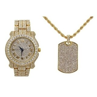 Hip Hop Ice'd Out Dog Tag Pendent on Gold Tone Rope Necklace with Bling Watch - N/A